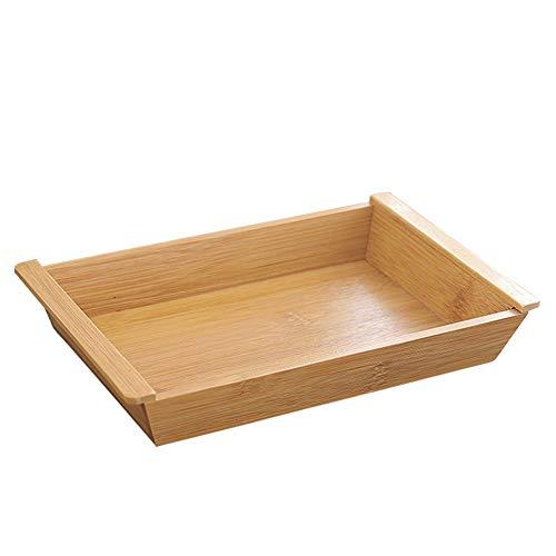Houten Rechthoekige Dienblad for Coffee Table, ontbijt, thee, voedsel, Butler Decoratieve Vertoning aanrecht, Keuken (Color : Wood, Size : L)