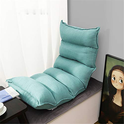 ZoSiP Floor Sofa Chair Reclining Large Size Floor Chair Fully Adjustable Recliner Chairs for Adults Memory Foam and Back Support Lounger Chair Memory Foam (Color : Gree, Size : 122x50x13cm)