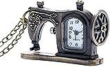 BEISUOSIBYW Co.,Ltd Collares Mujeres Hombres Reloj de Bolsillo Reloj de Bolsillo Elegante con máquina de Coser Reloj de Bolsillo Steampunk de Bronce Antiguo con Cadena de Collar Regalo Popular