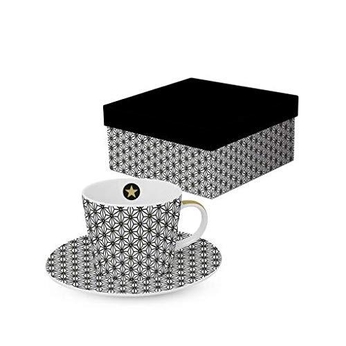 PPD Trend Espressotasse mit passender Untertasse, Magnesiumporzellan, Geschenkkartonage, 100 ml (Ginza Black real Gold)