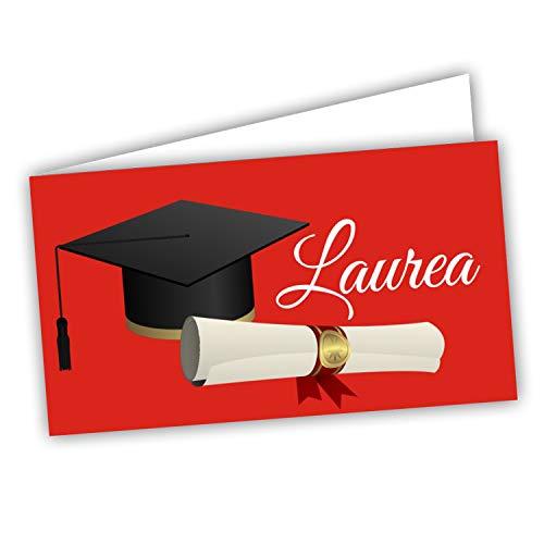 Bigliettini Bomboniera Laurea, Biglietti Sacchetti Confetti - Laurea 60 pezzi pretagliati - stampa l'interno con il file da scaricare dal link e il foglio di prova per non sbagliare