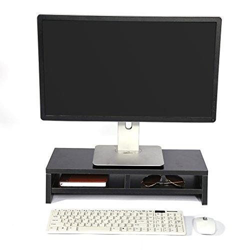 Universal-Holzständer mit Organizer für Monitor, TV, Laptop, Schreibtisch-Regal, zur Erhöhung des Bildschirms, 50 x 20 x 11,7 cm Schwarz