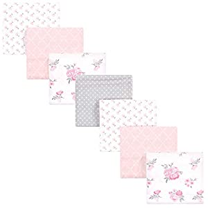 Hudson Baby Unisex Baby Cotton Flannel Receiving Blankets Bundle, Pink Floral, One Size