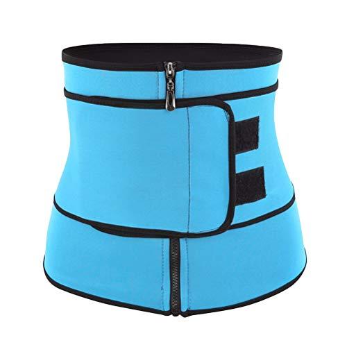 HEALLILY Neoprene Sweat Waist Trainer Yoga Sauna Corset Trimmer Belt Cincher Body Shaper Slimmer for Women Weight Loss Waist Blue (Size M)