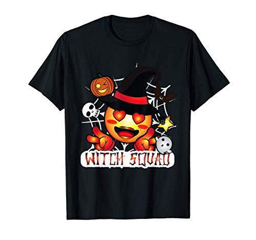 Halloween Cute Emoji Witch Squad Girls Teens Kids Gift Camiseta
