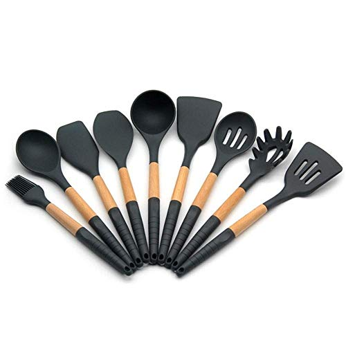 FGH QPLKKMOI 9 Pcs Silicone Cooking Utensils Kitchen Utensil Set, Best Silicone Kitchen Utensils Tools Gifts