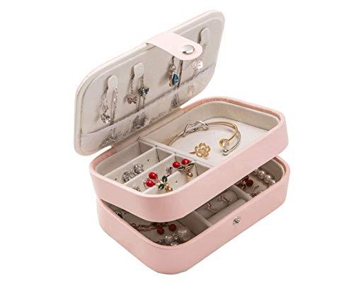 Caja de joyería Doble Creativa de PU con Divisor Desmontable para Collar, Anillo Collar de Regalo Joyas (Color: Rosa, Tamaño: 18.2x11.2x8cm),Rosado