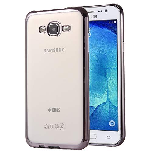GBHGBH ES For Samsung Compatible con Galaxy J7 / J700 galvanoplastia TPU Funda Protectora Suave (Color : Grey)