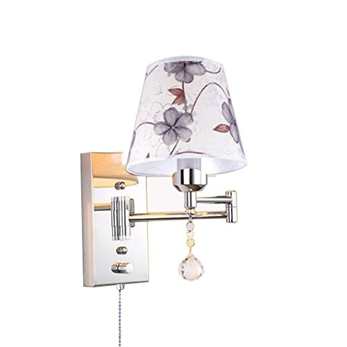 Wall Lamp Pull Chain Switch E27 Swing Arm Lamp Retro Metal Crystal and Cloth Shade Living Room Bedroom Bedside Study Wall Sconce ( Size : 32cm25cm )