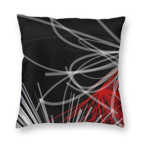 Harla Black White Gray & Red Abstract Velvet Soft Decorative Square Throw Pillow Case Cushion Cover Pillowcase for Livingroom Sofa Bedroom with Invisible Zipper 20x20 Inches