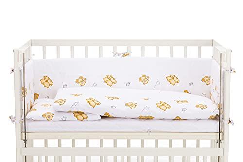 Fillikid Baby Beistellbett 2in1 45x95cm weiß komplett mit Nestchen, Bettwäsche, Windel   Anstellbett Stubenwagen   Babybett aus Buche - auch für Boxspringbetten   Beistellbett mit Rollen   Gitterbett