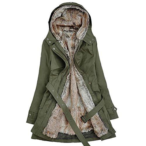 ELEAMO Dames Winter Warm Katoen Voering Jas Hooded Verwijderbare Voering Pocket Riem Womens Gewatteerde Waterdichte Jas Bovenkleding Tops Maat