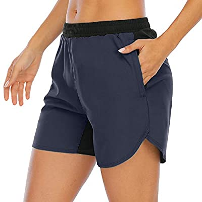 XIEERDUO Women's 5'' Athletic Running Shorts with Mesh Liner Zipper Pockets Gym Workout Training Quick Dry Navy Size L