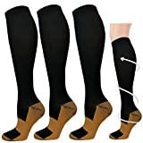 3 Pairs Copper Compression Socks for Men & Women 20-30 mmHg Medical Graduated Compression Stockings for Sports Running Nurses Shin Splints Diabetic Flight Travel Pregnancy (Black,L/XL)