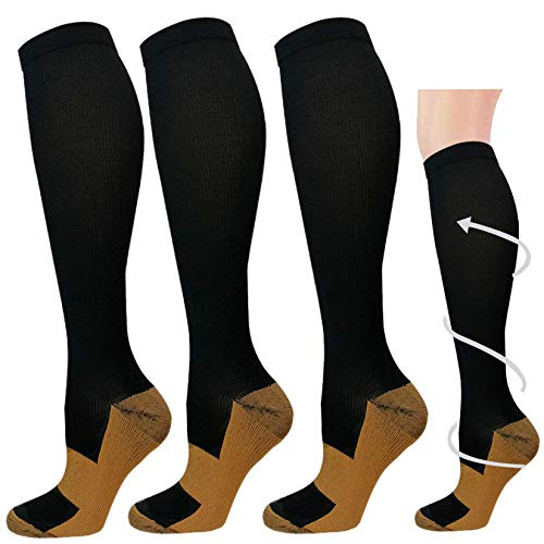 3 Pairs Copper Compression Socks for Men & Women 20-30 mmHg Graduated Compression Stockings for Sports Running Nurses Flight Travel Pregnancy (Black,L/XL)