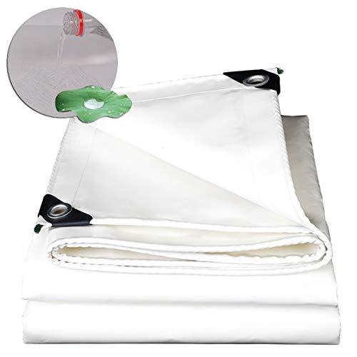MAHFEI Toldo Lona Impermeable, con Ojales De Metal Tela Toldo Resistente A Los Rayos UV Cubierta De Lona De PVC Resistente Al Desgarro Tienda De Camping Terraza (Color : White, Size : 5x6m)