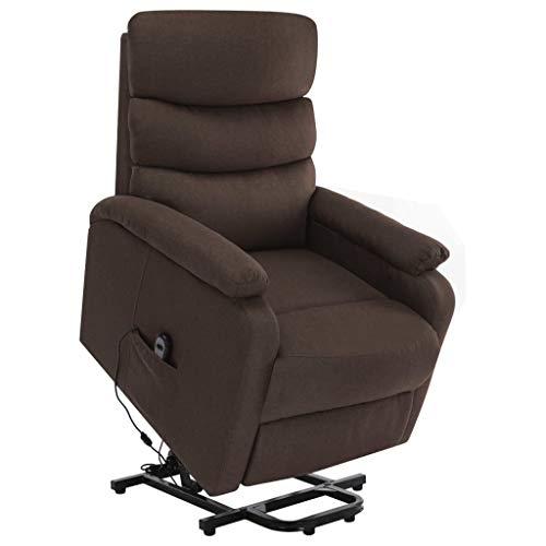 vidaXL Massagesessel mit Aufstehhilfe Heizung TV Sessel Fernsehsessel Relaxsessel Ruhesessel Polstersessel Liegesessel Lounge Braun Stoff