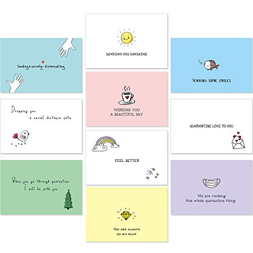 30 Pieces Social Distancing Greeting Cards Assortment, Funny Quarantine Thinking of You Cards with Envelopes Encouragement Cards for Most Occasions, 10 Designs