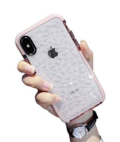 Jacyren Coque iPhone XR, Coque iPhone XS Max, Transparent Silicone [Motif de Diamant] Housse de Protection Case Coquille Anti-Rayures Housse Étui Cover pour iPhone XS Max XR (0Rose, iPhone XR)