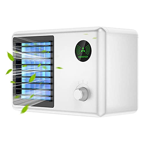 Didad Raffreddatore d'Aria Personale, Condizionatore d'Aria Portatile, Ventilatore del Condizionatore d'Aria Ricaricabile per Auto, Desktop, Ufficio Bianca
