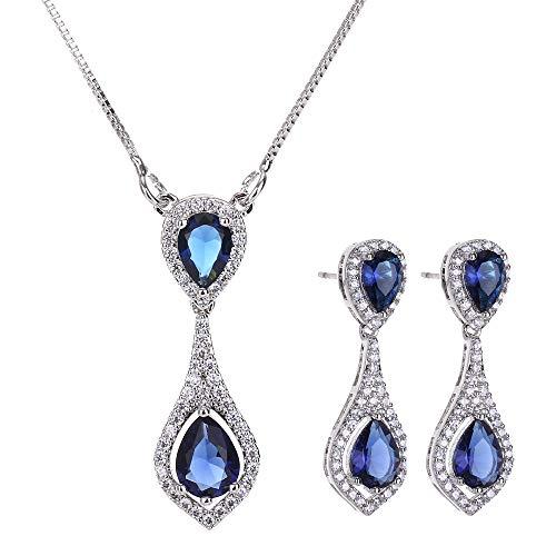 AMYJANE Wedding Jewelry Set for Bride - Elegant Sterling Silver Bridal Elegant Blue Sapphire Crystal Cubic Zirconia Teardrop Pendant Necklace Earrings Set for Teen Girls Bridesmaids Wedding
