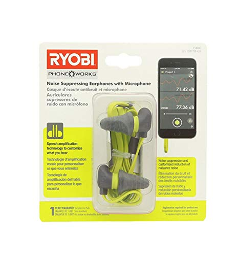 Ryobi ES8000 Phone Works Jobsite Noise Suppressing Earphones with Voice Amplifying Microphone