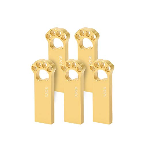 Chiavetta USB 32 GB [5 Pezzi] Metallo Pennetta USB 32 Giga USB Key Impermeabile Portatile Pendrive 32GB Memoria Esterna PC per pc portatile, ecc (Oro)