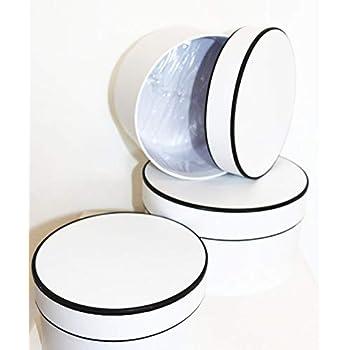 3 cajas de regalo blancas y negras redondas para flores, caja para sombreros, cajas de regalo, cajas de regalo, cajas decorativas, cajas redondas: Amazon.es: Oficina y papelería