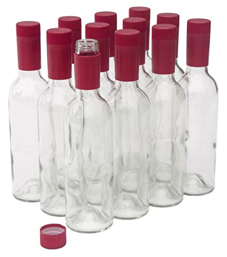 North Mountain Supply 375ml Clear Glass Bordeaux Wine Bottles with Twist-N-Seal Closures - Case of 12 (Red Capsules)