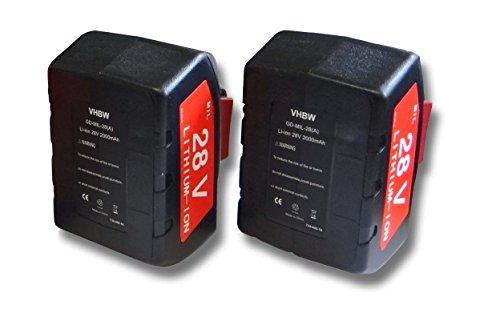 vhbw 2x Li-Ion batería 2000mAh (28V) para herramientas Milwaukee Milwaukee 4933416345 C 12-28 DCR 0-Version Netz por 48-11-2830, 0700956730.