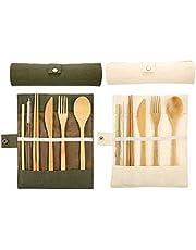 2 sets bamboe bestek, reisbestekset, milieuvriendelijke bestekset, bamboe eetstokjes vork mes lepel rietje en borstel, houten bestekset, campingbestekset met reistas