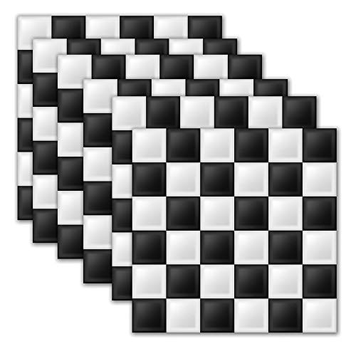 DNVEN 7.8 inches x 7.8 inches 6pc Tile Stickers Black White Simple Mosaic Style Kitchen Backsplash Bathroom Vinyl Waterproof Peel and Stick Decals
