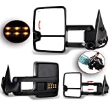 OCPTY Towing Mirrors with Power Heated Left and Right Side Tow Mirrors Compatible with 2003-2006 for Chevy Silverado/for GMC Sierra Pickup All Models Light Lens with LED Turn Signal Light with Black