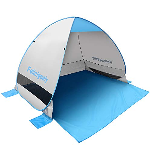 FelicigeelyBeach Tent,UPF 50+ Automatic Sun Shelter Umbrella,Pop Up Baby Beach Tent Instant Sun Shade Beach Tents Fit 3-4 Person with Carry Bag