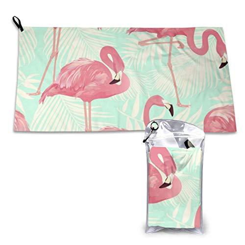 Zachary Sherman Flamingo handdoeken, sneldrogend, met karabijnhaak, absorberend etui en sporthanddoek, sneldrogend, 40 x 80 cm