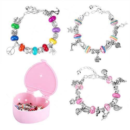 Wenosda Kit Bijoux de Bracelets à Breloques Bijoux de Bricolage Kits Ensemble de fabrication de bracelet Bijoux Fille Bracelets de Bijoux Enfants Cadeaux(3 Ensembles)