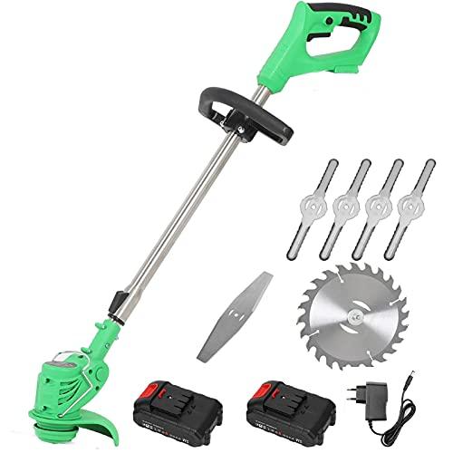 DEALRITE 12 V Edger & String Trimmer Cortacéspedes inalámbrico Weed Brush Cutter Kit cortador de poda herramientas de jardín con hoja de repuesto con batería, 24 V 2 baterías