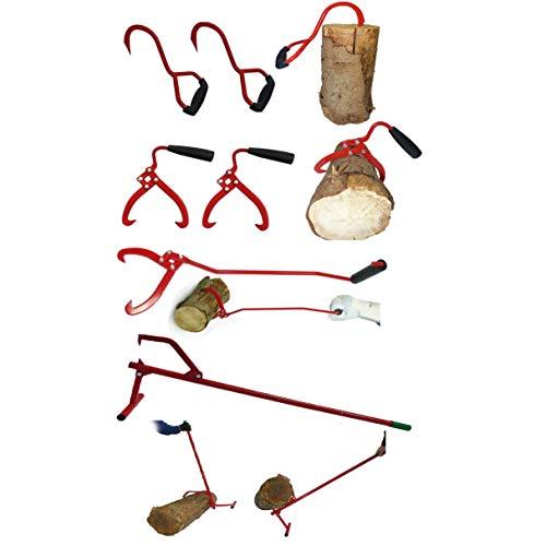 CROSSFER Holzmacher Set - 2 x Packhaken Sappie, 2 x Packzange Holzzange, 1 x Vorlieferzange Holzpackzange, 1 x Stammwender Sägebock FORSTO100, Komplettset für die Forstwirtschaft