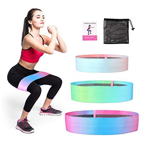 LBLA Colore Sfumato Elastici Fitness, Fasce Elastiche in Tessuto con 3 Diverse Resistenze per Esercizi Glutei/Yoga/Pilates/Palestra