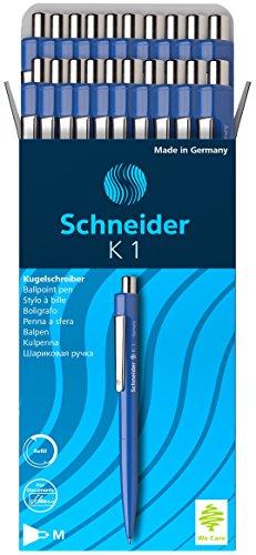 Schneider K-1 Retractable Ballpoint Pen, Blue, Box of 20 (3153)