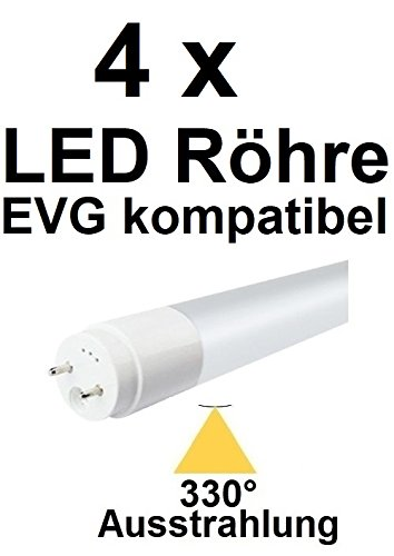 TÜV Süd zertifiziert! 4 x 150 cm LED Röhre T8 / G13 für EVG OHNE Starter, 29 Watt, 330° AUSSTRAHLUNG, 3480 LUMEN, Neutralweiß ~ 4000 Kelvin, ersetzt 58 Watt Leuchtstoffröhre. EVG KOMPATIBEL