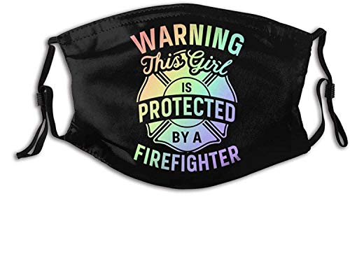 Red Line Flag American Firefighter-Face Mask Washable Reusable, Balaclava with Filters, for Men Women Adult Teens-Firefighter Daughter Cute Fireman 3-1 PCS