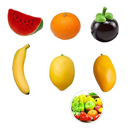 Zavril12 Set de Frutas Artificiales Decoracion de Frutas Fruta Artificial Realista Limón Falso Plátano Mango Naranja Mangostán Sandía para la exhibición del gabinete decoración del hogar(6 Piezas)