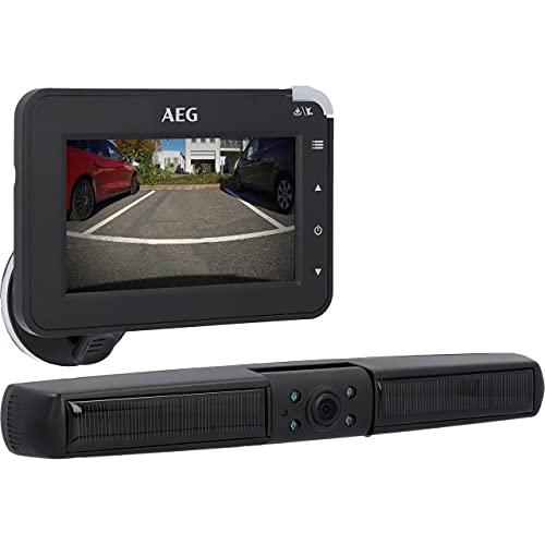 AEG Solarbetriebene Kabellose Digital Rückfahrkamera,Einparkhilfe,mit Funksender,LCD-Dual-Display,Wasserdicht,Nachtsicht