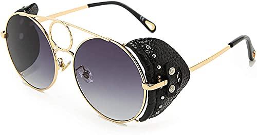 Mantimes Gafas de sol polarizadas UV400 Protección Vintage Round Unisex Gafas de sol para Pesca Ciclismo Golf (Dorado Negro)