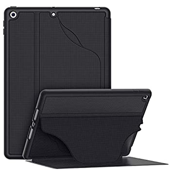 Soke iPad 8th Generation Case 2020 iPad 7th Generation Case 10.2 Inch - [Built-in Pencil Holder + 6 Magnetic Stand Angles + 360 Full Protection + Premium PU Leather] - Sleep/Wake Cover Black