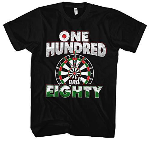 One Hundred and Eighty Männer Herren T-Shirt | Dart Darts Dartboard Sport 180 (3XL, Schwarz)