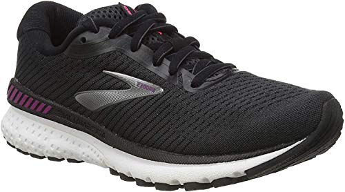 Brooks Womens Adrenaline GTS 20 Running Shoe, Black/White/Hollyhock, 39 EU