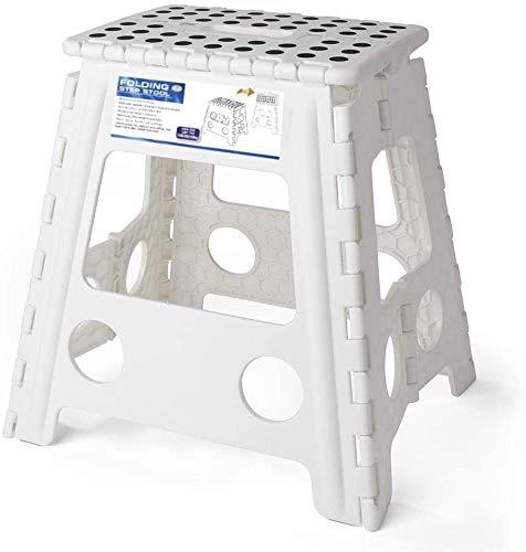 HOUSE DAY Tritthocker Klappbar Klapphocker Faltbar H40cm Tüv geprüft für Kinder Erwachsene Bade Küchen - Weiß