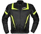 Bi Esse - Chaqueta de moto Touring para hombre - Chaqueta deportiva - Confeccionada en tejido con protecciones CE - Color negro y blanco - Impermeable - Ajustable - Forro térmico